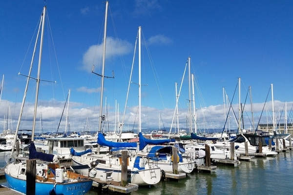 Marina in San Francisco Bay with yachts moored